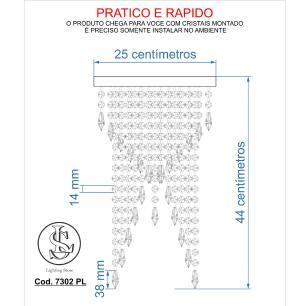 Kit 1 Plafon Redondo Crilik Pl7302 Dourado c/Lamp.