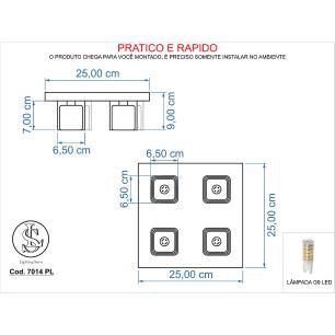 Kit 1 Plafon 7014 + 1 Plafon 7013 Cromado