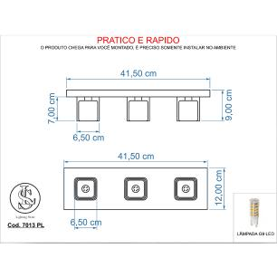 Plafon Gelo Transparente /3 7013 Cromado