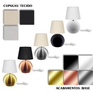 Kit Abajur Bola  Dourado Cupula Preta 3031c/Lamp