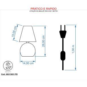 Kit 2 Abajur Bola  Dourado Cupula Preta 3031