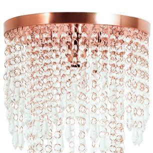 Lustre Pendente Plafon Redondo Cristal Crilik Pl7302 Rose Gold