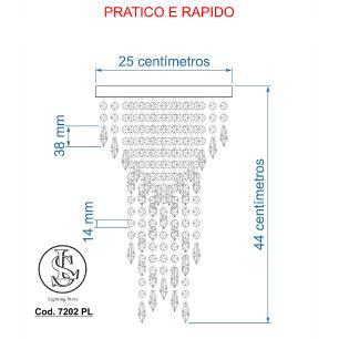 Kit 1 Lustre 7202 + 1 Plafon 7202 Dourado Brilhante