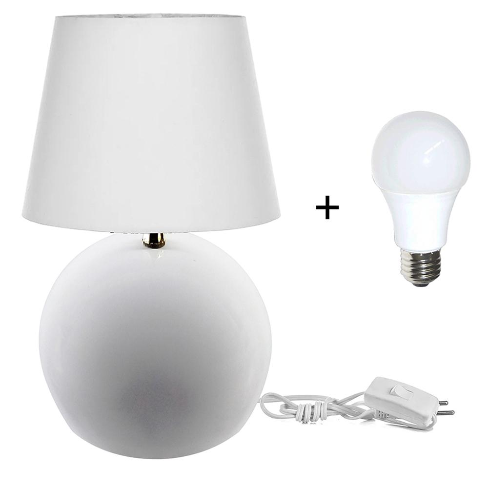 Kit Abajur Bola Branco Cupula Branca 3021c/Lamp