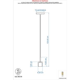 Kit 1 Pendente 7021 + 1 Plafon 7014 Cromado