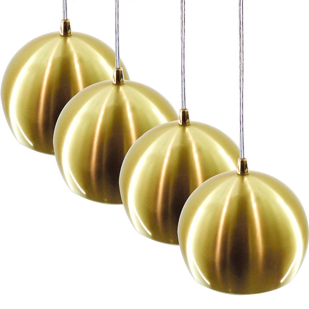 Kit 4 Pendentes Bola Escovado  Dourado