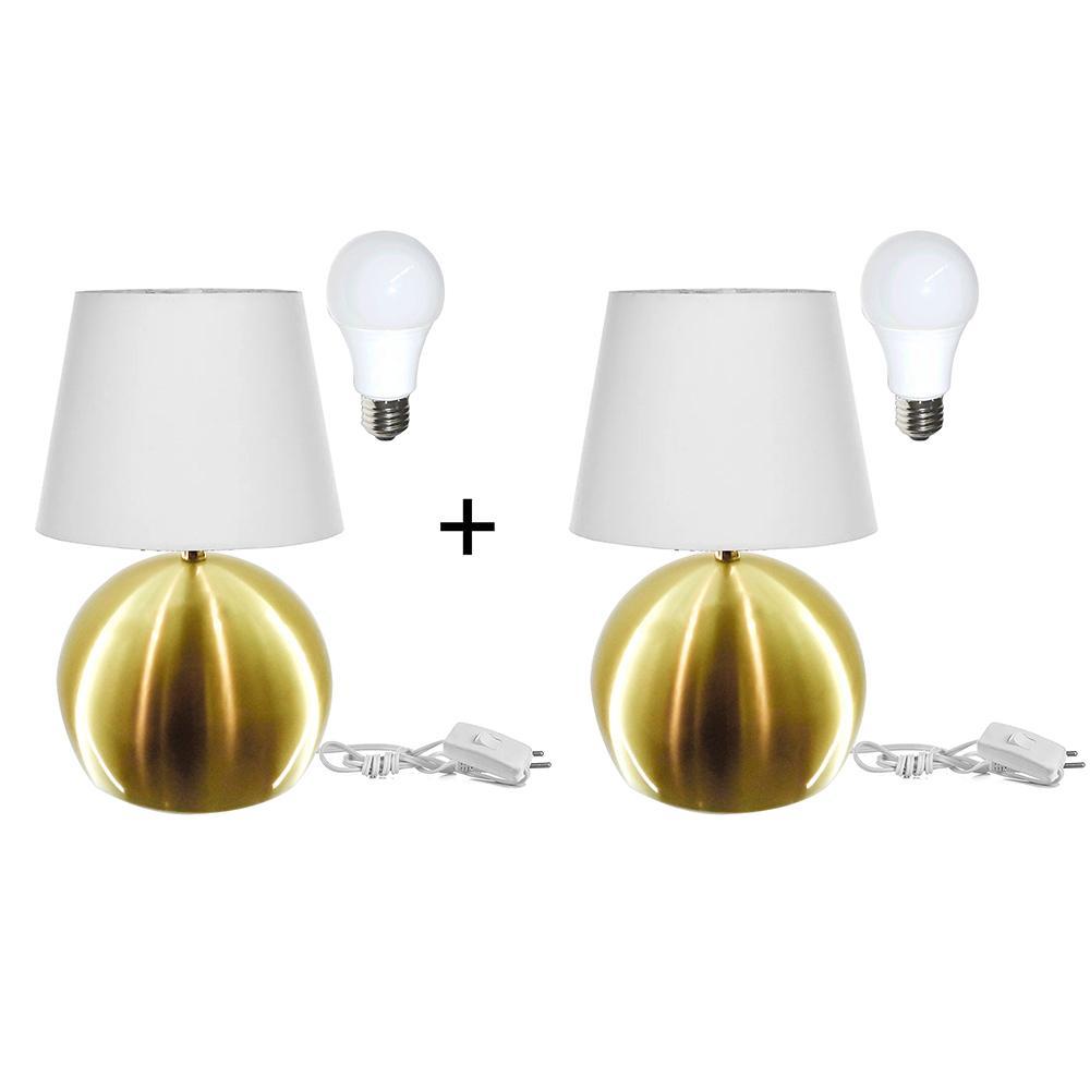 Kit 2 Abajur Bola  Dourado Cupula Branca 3031c/Lamp