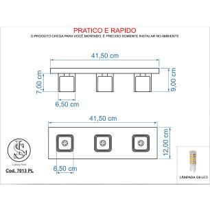 Kit 1 Pendente 7023 + 1 Plafon 7013 Cromado