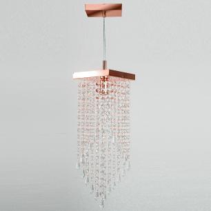 Lustre Pendente Plafon Cristal Crilick Ls7201 Rose Gold