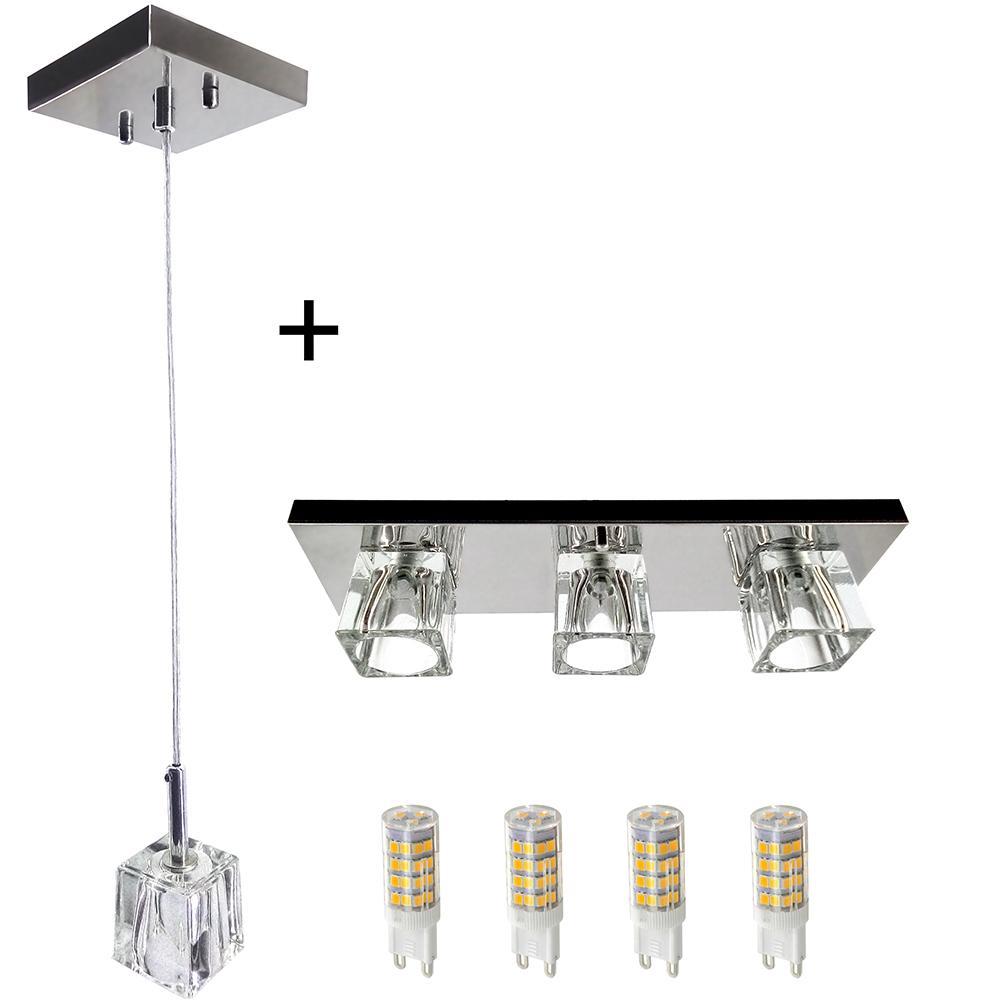 Kit 1 Pendente 7021 + 1 Plafon 7013 c/Lamp. G-9 Cromado
