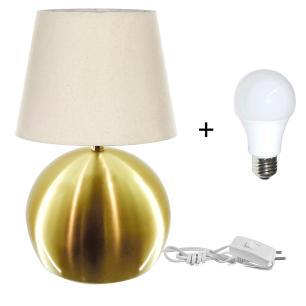 Kit Abajur Bola  Dourado Cupula Bege 3031c/Lamp