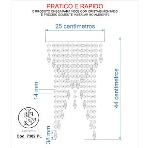 Kit 1 Plafon Redondo Crilik Pl7302 + 2 Ls7301 Dourado