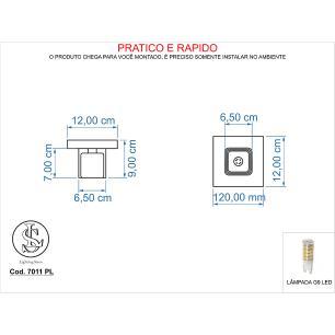 Kit 1 Pendente 7021 + 1 Plafon 7011 c/Lamp. G-9 Cromado