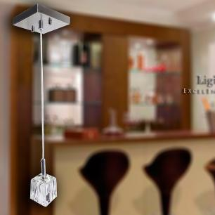 Kit 1 Pendente 7021 + 1 Plafon 7012 c/Lamp. G-9 Cromado