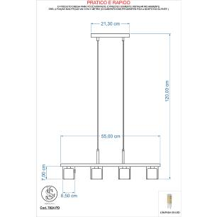 Kit 1 Pendente 7024 + 1 Plafon 7013 c/Lamp. G-9 Cromado