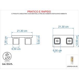 Kit 1 Plafon 7014 + 1 Plafon 7012 c/Lamp. G-9 Cromado