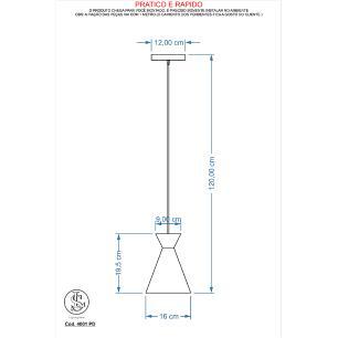 Kit 6 Pendente Sinus 4001 Preto  c/ Cobre/1