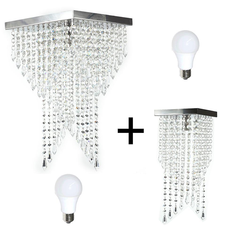 Kit 1 Plafon 7202 + 1 Plafon 7201 Cromado Brilhante c/Lamp.