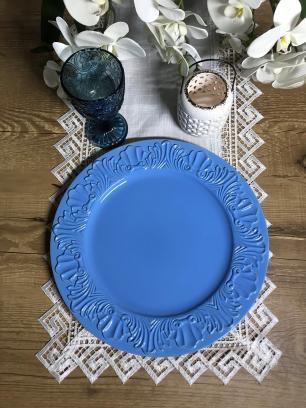 Sousplat Valence Redondo Romantic Azul 36cm