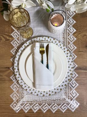 Sousplat Valence Redondo Lótus Branco com Dourado 33cm