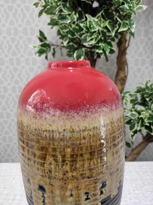 Vaso Decorativo Valence Cerâmica Vermelho 34x13cm