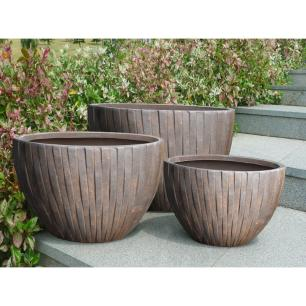 Vaso Cachepot Planta Externo Cimento Oval Marrom 22x42cm