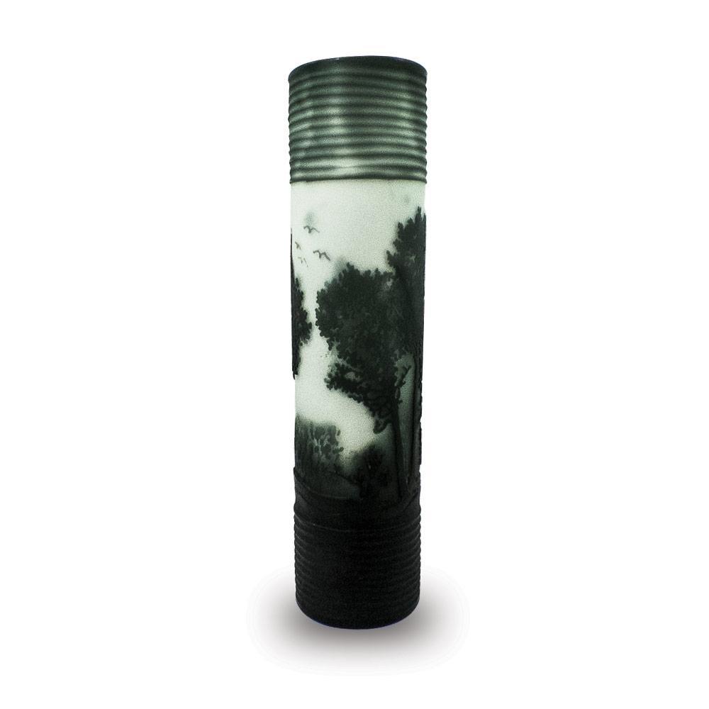 Vaso Decorativo de Vidro Valence Branco e Preto 41x10cm