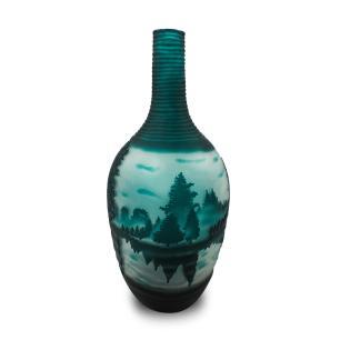 Vaso Decorativo de Vidro Valence Floresta Verde 41x16cm