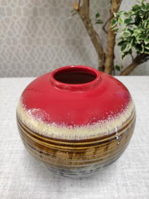 Vaso Decorativo Valence Cerâmica Vermelho 17,5x18cm