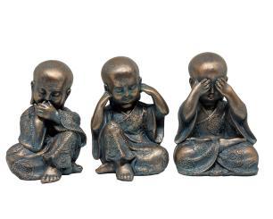 Trio Estatuetas Decorativas Valence Budas 12x11x17cm