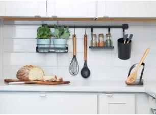 Kit Organizador de Utensílios de Cozinha 5 Peças Preto IDesign