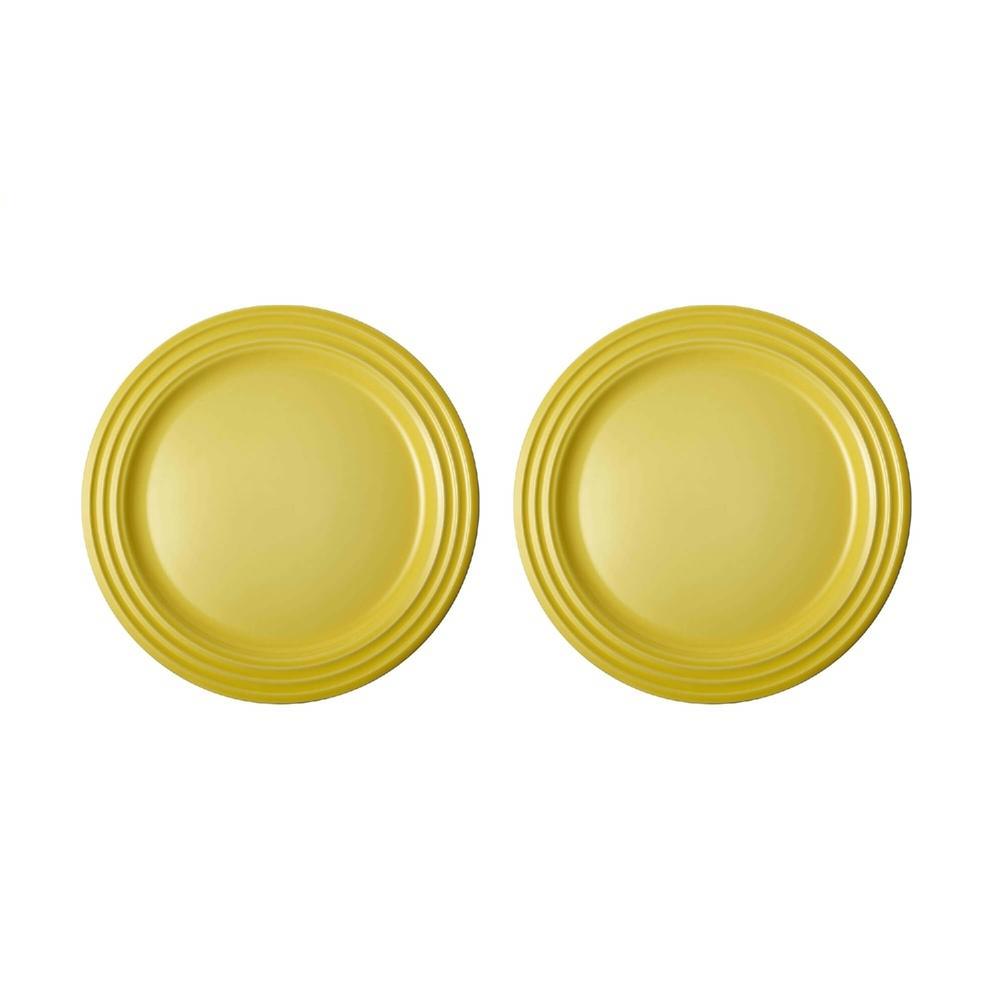 Jogo de 2 Pratos Rasos de Cerâmica 22 cm Amarelo Soleil Le Creuset