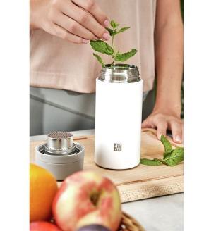 Kit 2 Garrafas Térmicas com Infusão para Chá 420 ml Cinza e Branco Zwilling Thermo