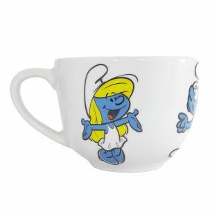 Xícara de Chá com Pires 350 ml em Porcelana Os Smurfs
