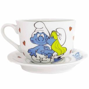 Xícara de Chá com Pires 350 ml em Porcelana Smurfonados