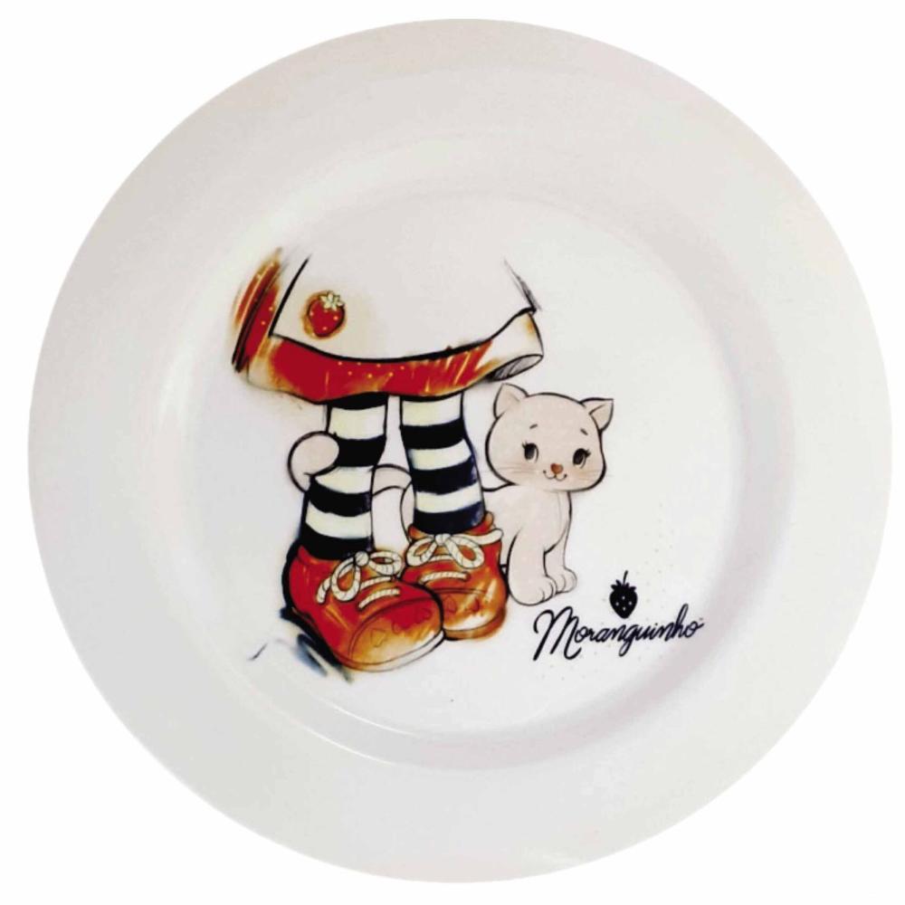 Prato Raso para Refeição Porcelana Moranguinho Sketch