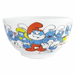 Tigela Bowl Grande Porcelana Os Smurfs
