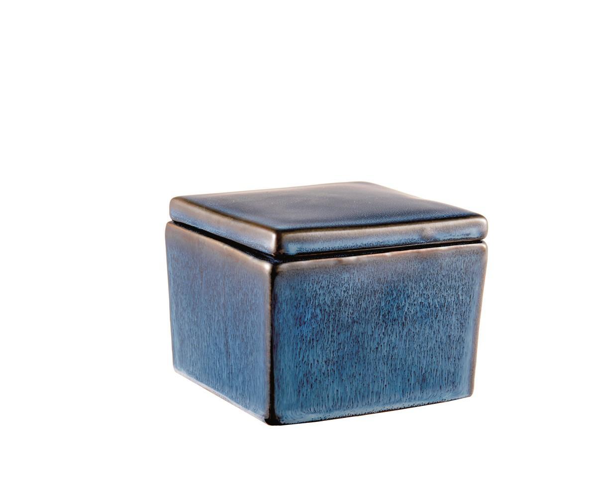 Caixa Quadrada em Cerâmica Azul