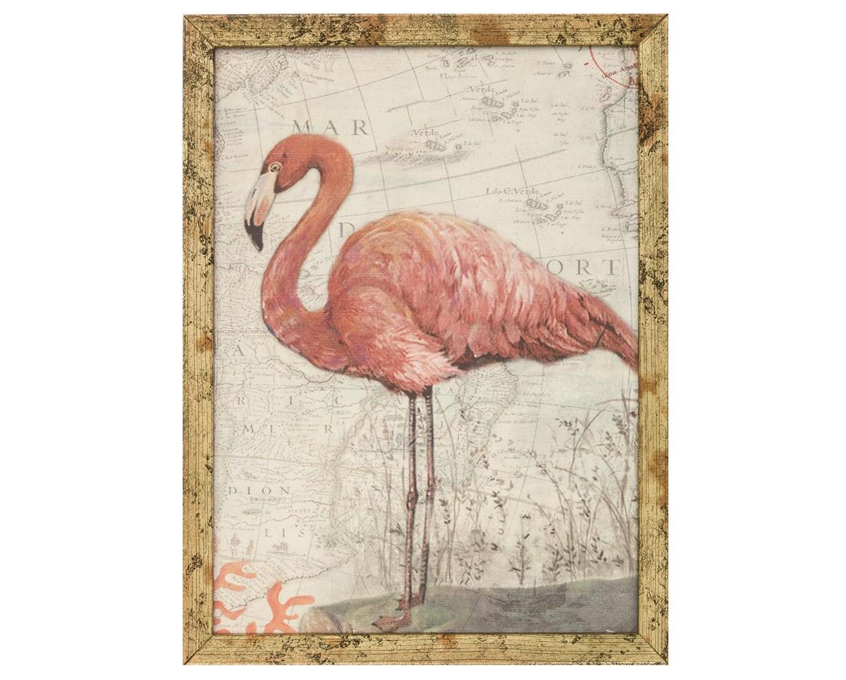 Quadro em Canvas Estampa Flamingo Colorido