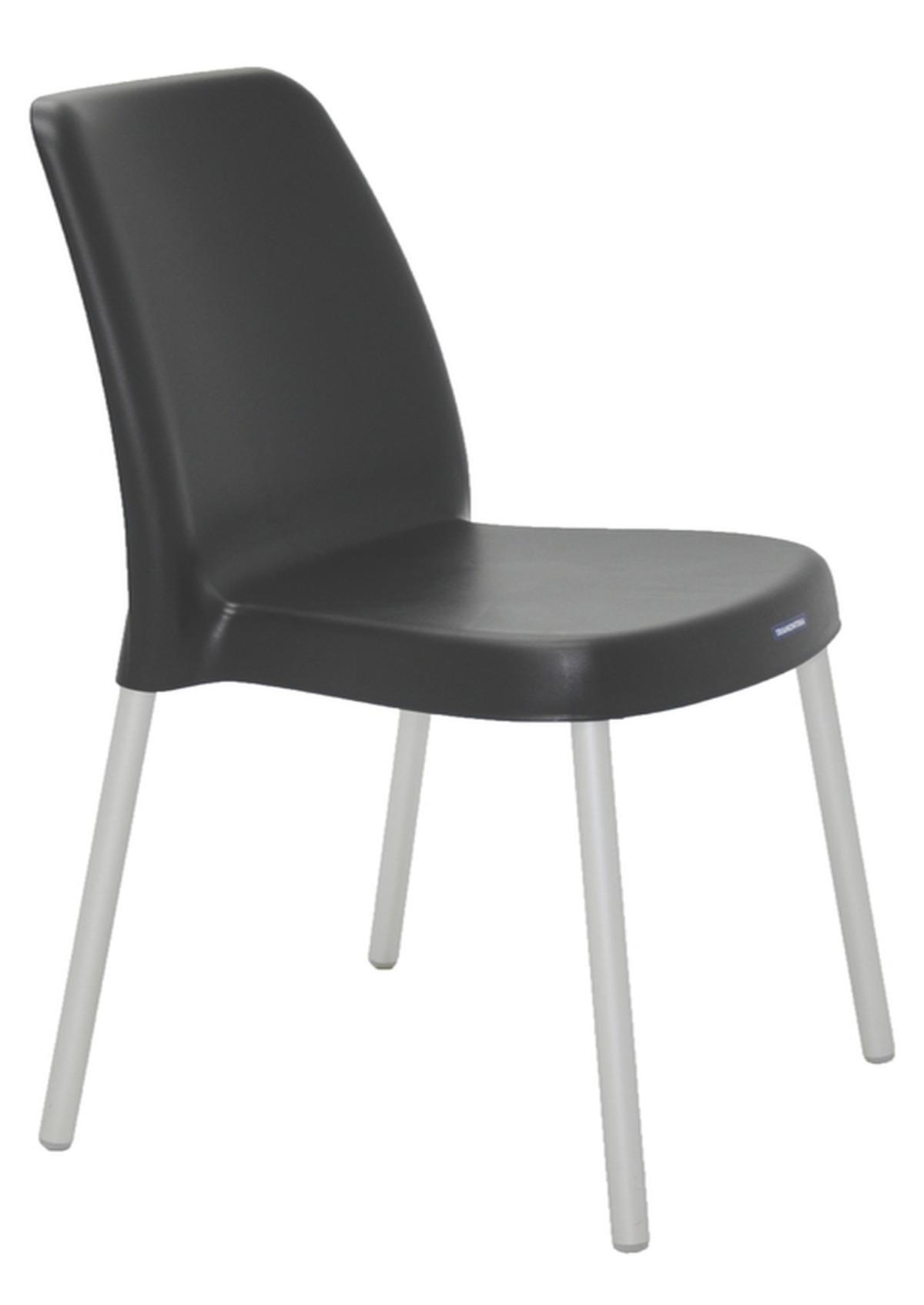 Cadeira Vanda Preta Pernas Anodizadas