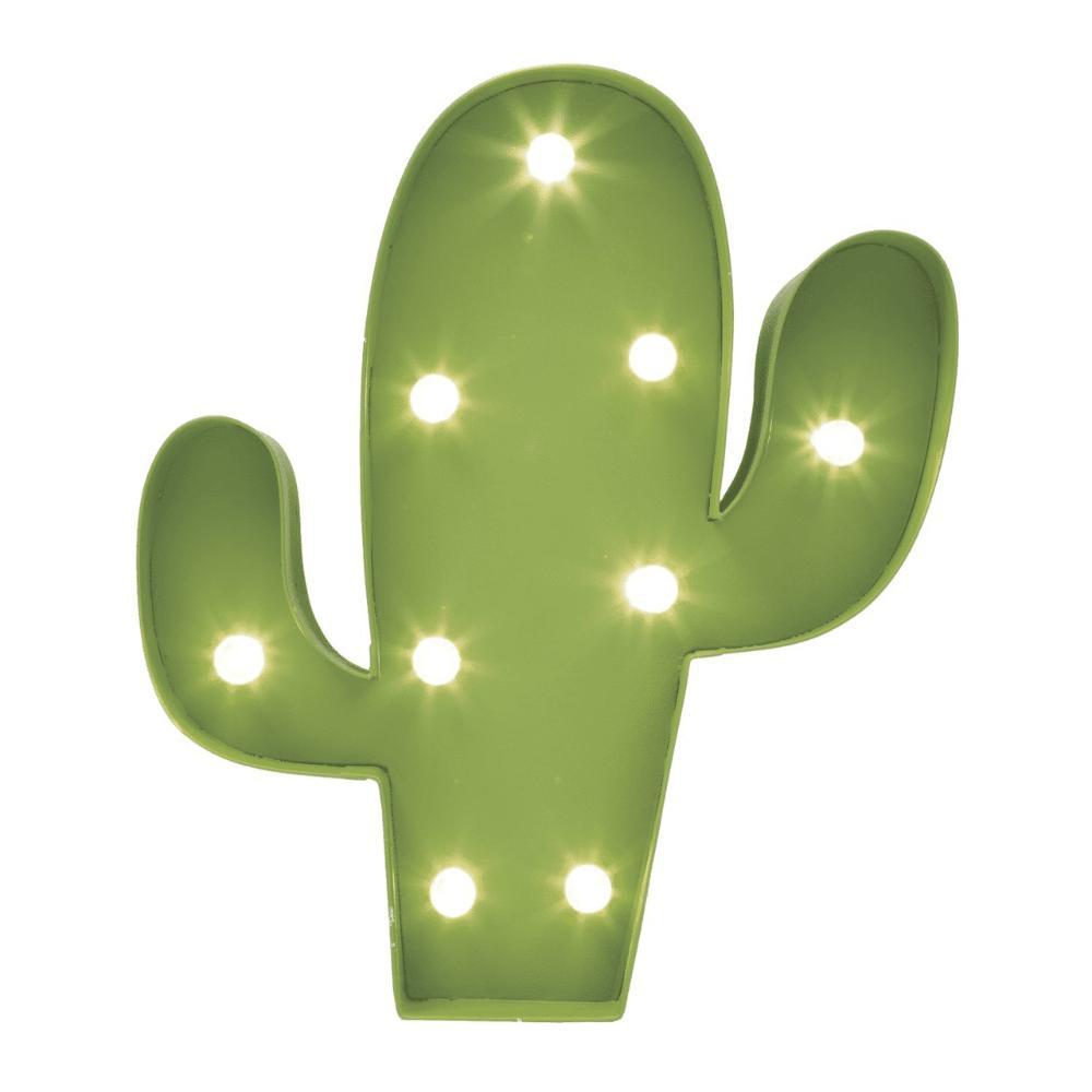 Cacto em Metal com LED Verde