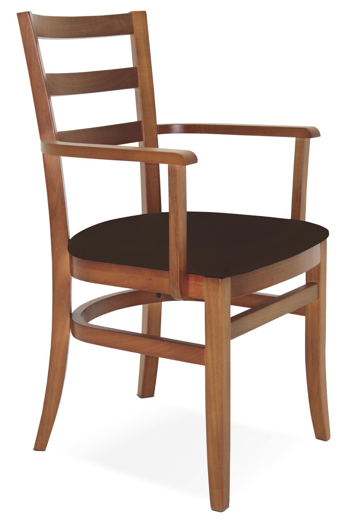 Cadeira Com Braço Paris Sofie Amendoa Estofado Café