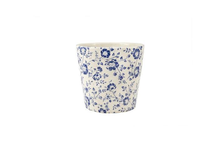 Cachepot Decorativo Em Ceramica Branco E Azul