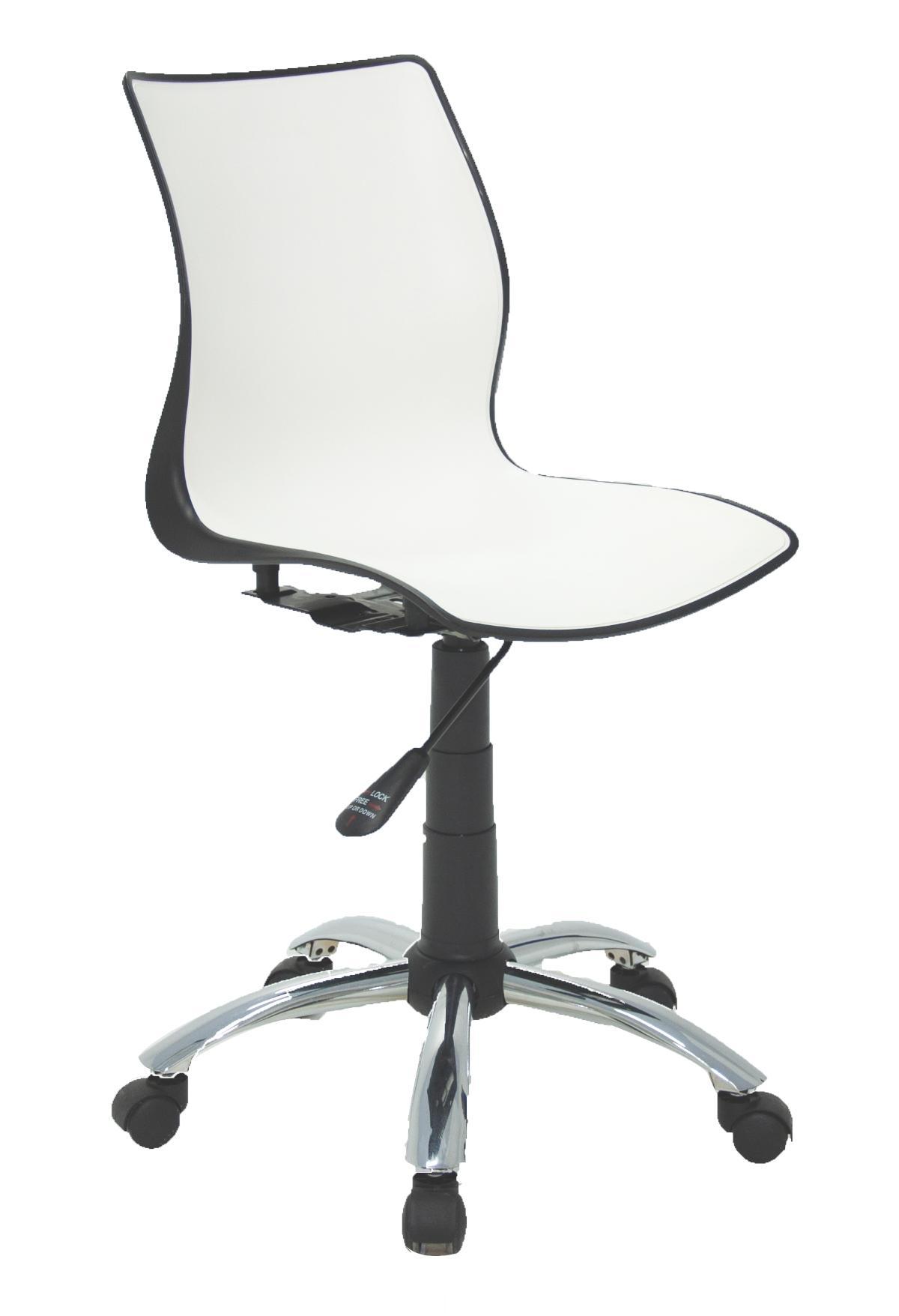 Cadeira Com Rodizio Maja Preta Branco