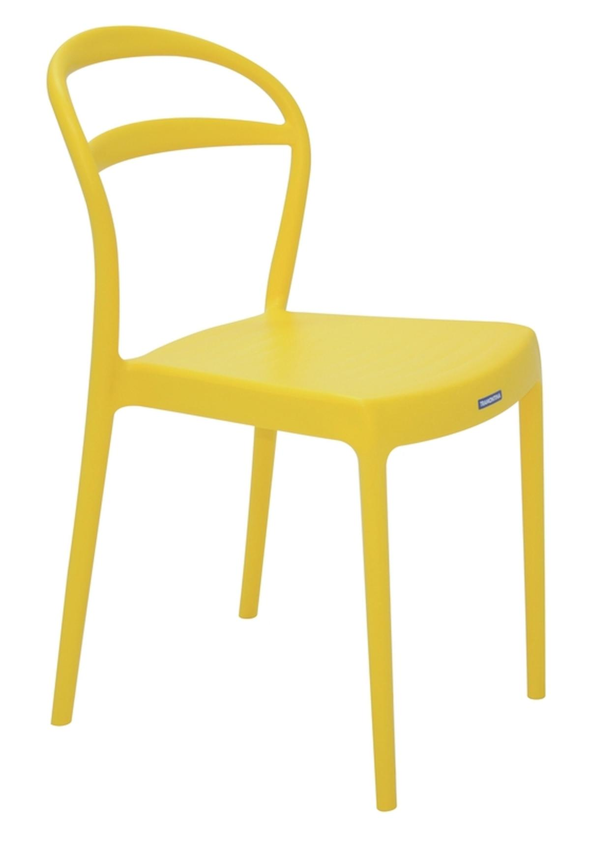 Cadeira Sissi Encosto Vazado Amarelo