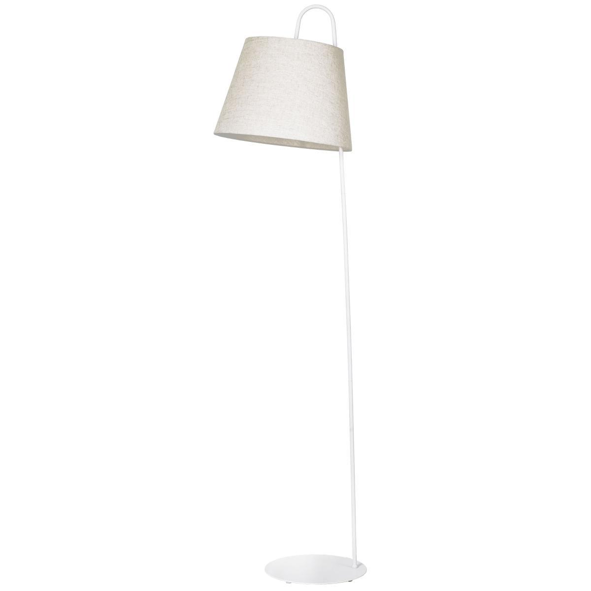 Luminária De Chão Branca Em Metal E Tecido Com Cúpula Palha