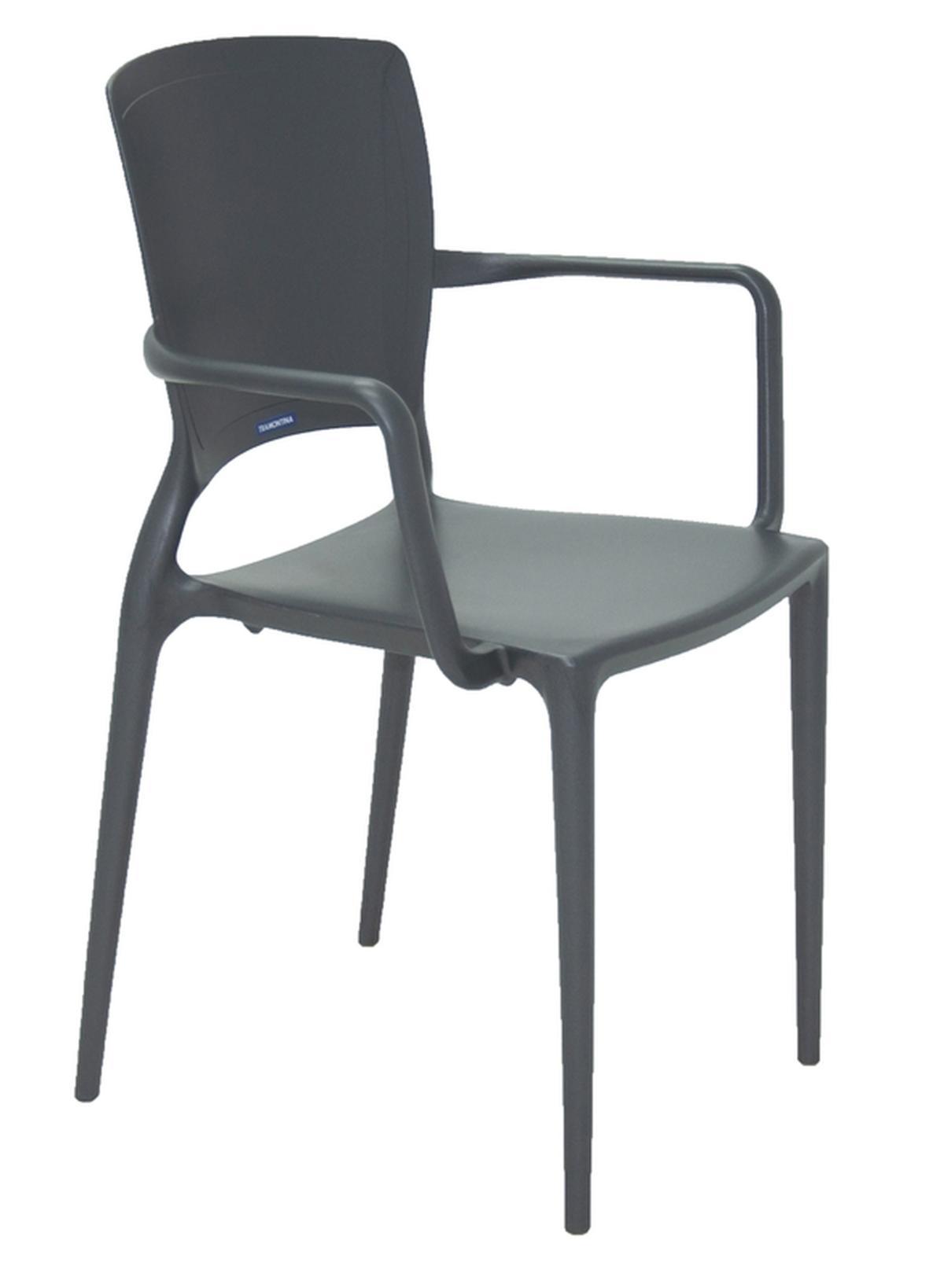 Cadeira Com Braços Sofia Fechada Grafite