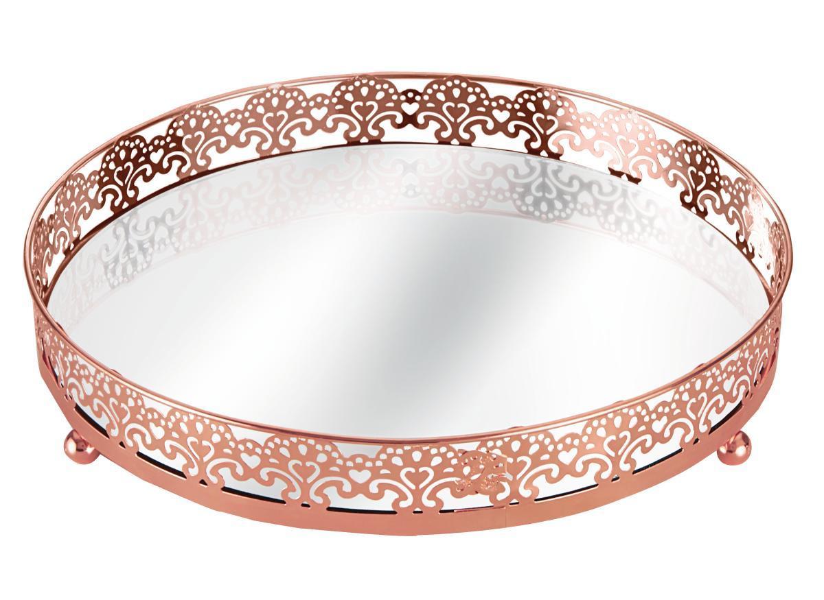Bandeja em Metal C/espelho Cobre  24,5Cm