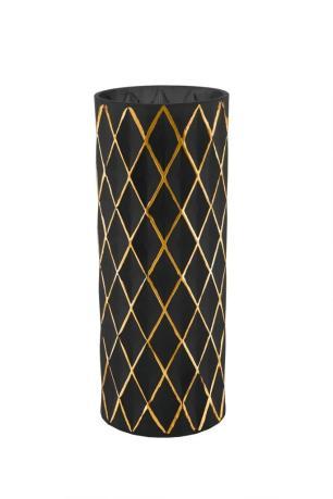 Vaso Decorativo De Vidro Preto E Dourado