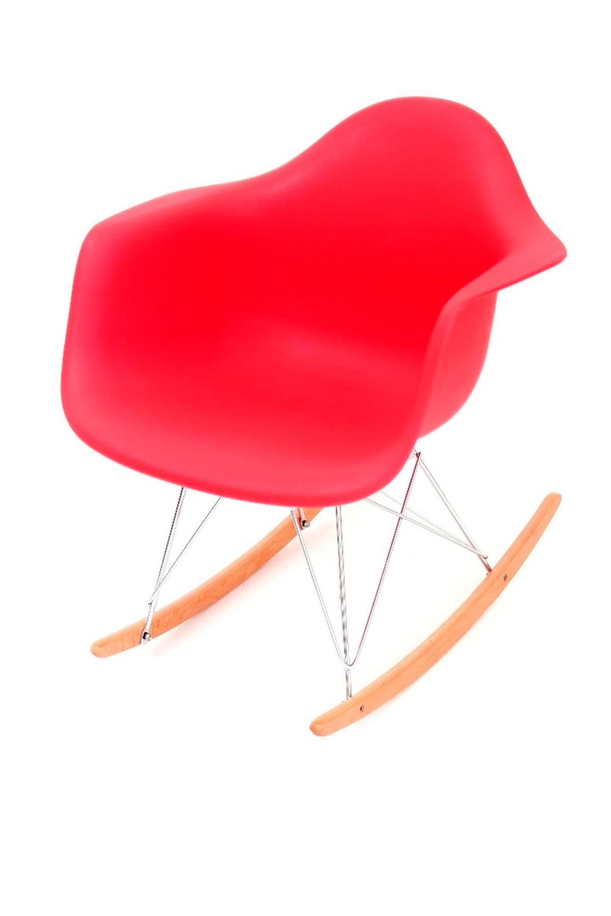 Cadeira Eiffel Com Braço Base Balanço Vermelha